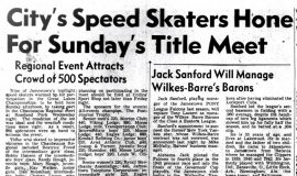 City's Speed Skaters Hone For Sunday's Title Meet. February 10, 1944.