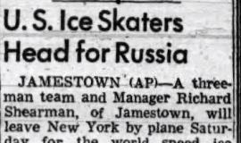 U.S. Ice Skaters Head for Russia. February 10, 1955.