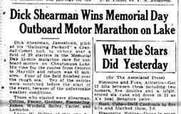 Dick Shearman Wins Memorial Day Outboard Motor Marathon on Lake. May 31, 1930.