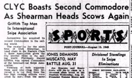 CLYC Boasts Second Commodore As Shearman Heads Scows Again. August 15, 1949.