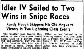 Idler IV Sailed to Two Wins in Snipe Races. May 31, 1944.