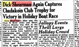 Dick Shearman Again Captures Chadakoin Club Trophy for Victory in Holiday Boat Race. July 5, 1941.