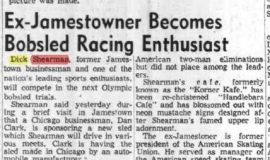 Ex-Jamestowner Becomes Bobsled Racing Enthusiast. April 13, 1957.