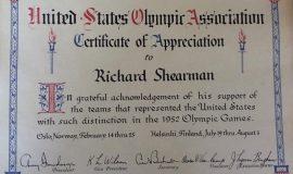 U.S. Olympic Association, Certificate of Appreciation, 1952.
