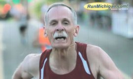 Doc Rappole running 2015 road mile in Flint, Michigan.