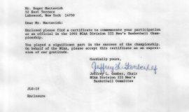 1993 Final Four letter.
