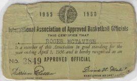 Roger MacTavish's first IAABO card, 1955.