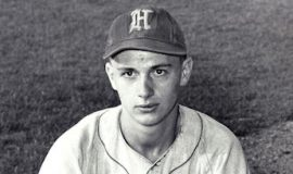 Roger MacTavish as a 19-year-old catcher for the  Hornell Dodgers of the PONY League, 1953.