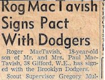 Rog MacTavish Signs Pact With Dodgers. 1953.