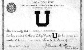 Union College basketball letter award to Sam Hammerstrom, 1939-40.