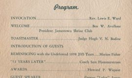 1949 JHS Football Banquet program, inside page 1.