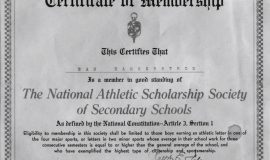 National Athletic Scholarship Society member certificate.