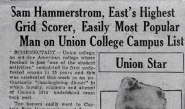Sam Hammerstrom, East's Highest Grid Scorer, Easily Most Popular Man on Union College Campus List. 1939.