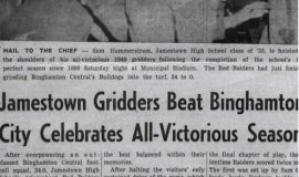 Jamestown Gridders Beat Binghamton, City Celebrates All-Victorious Season. 1949.