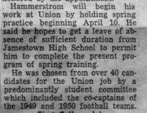 Hammerstrom Is Appointed Union College Grid Coach. Page 2. March 27, 1950.