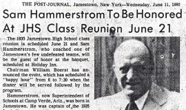 Sam Hammerstrom To Be Honored At JHS Class Reunion.  June 11,1980.