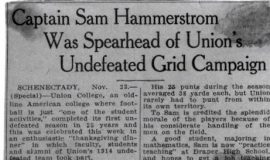 Captain Sam Hammerstrom Was Spearhead of Union's Undefeated Grid Campaign. November 23, 1939.