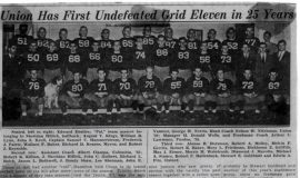 Union Has First Undefeated Grid Eleven in 25 Years. 1939.