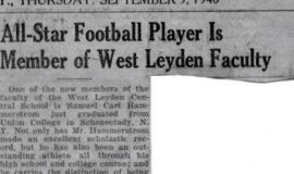 All-Star Football Player is Member of West Leyden Faculty. September 5, 1940.