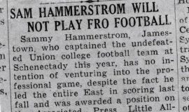 Sam Hammerstrom Will Not Play Pro Football. 1940.
