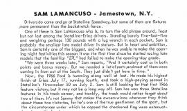 Sammy LaMancuso - Stateline Speedway Program Biography, 1966.