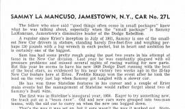 Sammy LaMancuso - Stateline Speedway Program Biography, 1968.