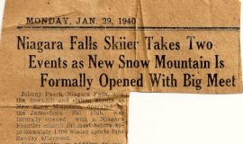 Niagara Falls Skiier Takes Two Events As New Snow Mountain Formally Opened With Big Meet. January 29, 1940.