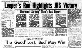 Leeper's Run Highlights JHS Victory. September 15, 1973.