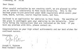 Recruiting letter from Joe Paterno. January 18, 1982.