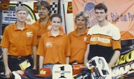 Left to right Paul Higbee, Jim Buzzard, Bridgett Higbee, Rose Higbee, Shawn Higbee, taken at Atlanta, GA, 1994 after winning Harley-Davidson 883 Twin Sports division point championship.