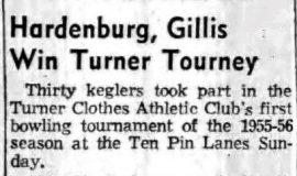 Hardenburg, Gillis Win Turner Tourney. November 15, 1955.