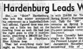 Hardenburg Leads Wood Sluggers. April 15, 1953.