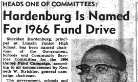 Hardenburg Is Named For 1966 Fund Drive. June 21, 1966.