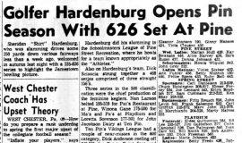 Golfer Hardenburg Open Pin Season With 626 Set At Pine.  September 24, 1959.