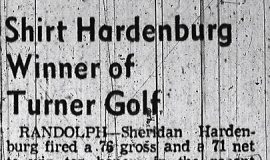 Shirt Hardenburg Winner of Turner Golf. September 1, 1956.