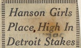 Hanson Girls Place High In Detroit Stakes. December 20, 1971.