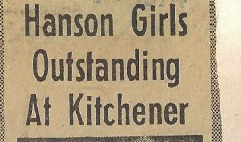 Hanson Girls Outstandig At Kitchener. February 10, 1974.