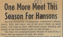 One More Meet This Season For Hansons. February 13, 1973.