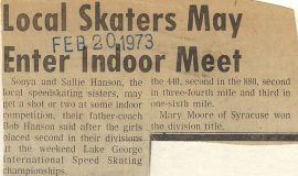 Local Skaters May Enter Indoor Meet. February 20, 1973.