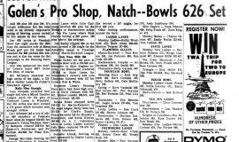 Golen's Pro Shop, Narch -- Bowls 626 Set. January 25, 1966.