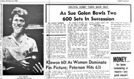 As Sue Golen Bowls Two 600 Sets In Succession. October 23, 1963.