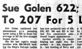 Sue Golen 622; Ups Average To 207 For 5 League Starts. March 10, 1965.