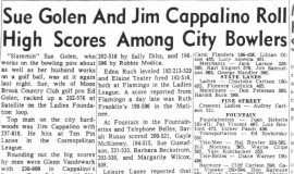 Sue Golen And Jim Cappalino Roll High Scores Among City Bowlers. March 20, 1964.