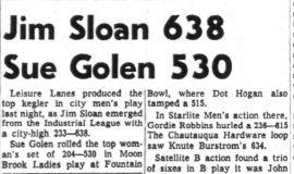 Jim Sloan 638 Sue Golen 530. January 15, 1964.