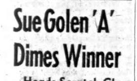Sue Golen 'A' Dimes Winner. January 17, 1966.
