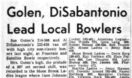 Golen, DiSabantonio Lead Local Bowlers. January 22, 1964.