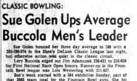 Sue Golen Ups Average Buccola Men's Leader. January 6, 1965.