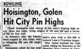 Hoisington, Golen Hit City Pin Highs. January 7, 1966.