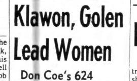 Klawon, Golen Lead Women. October 30, 1963.