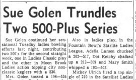 Sue Golen Trundles Two 500-Plus Series. November 13, 1963.